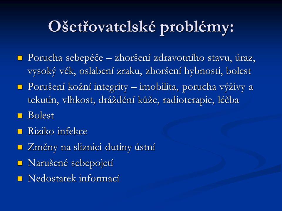 Ošetřovatelské problémy: Porucha sebepéče – zhoršení zdravotního stavu, úraz, vysoký věk, oslabení zraku, zhoršení hybnosti, bolest Porucha sebepéče –