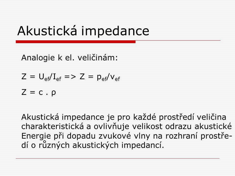 Akustická impedance Analogie k el. veličinám: Z = U ef /I ef => Z = p ef /v ef Z = c. ρ Akustická impedance je pro každé prostředí veličina charakteri