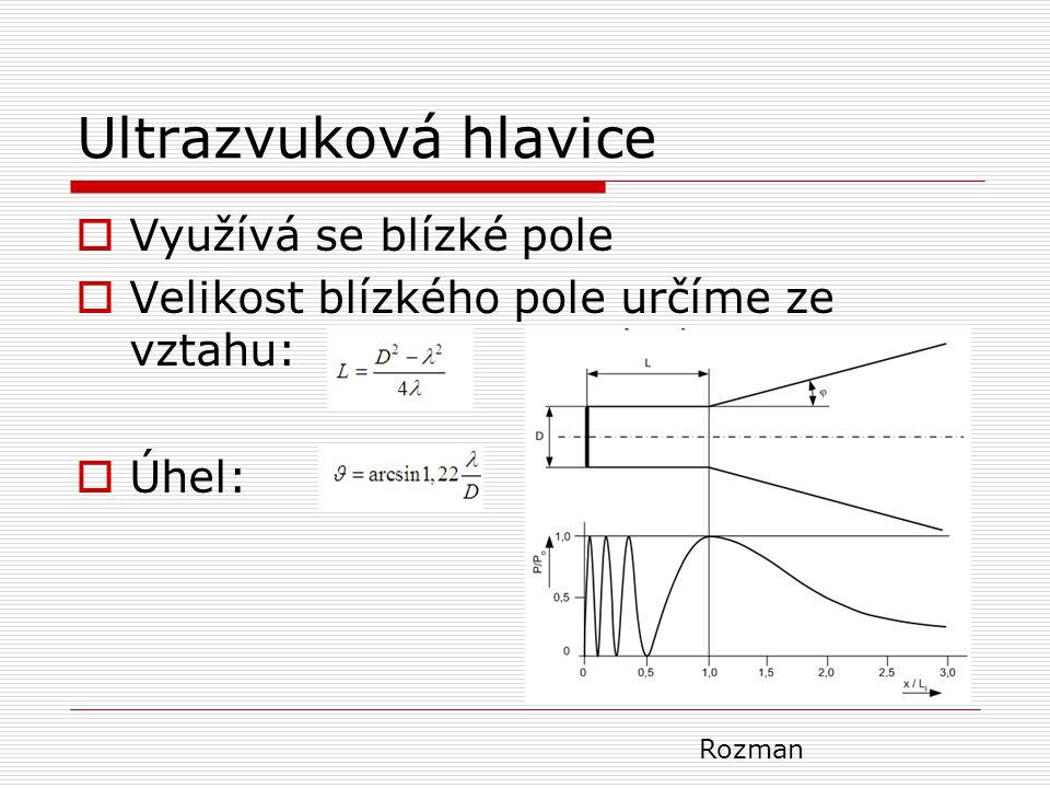 Ultrazvuková hlavice  Využívá se blízké pole  Velikost blízkého pole určíme ze vztahu:  Úhel: Rozman