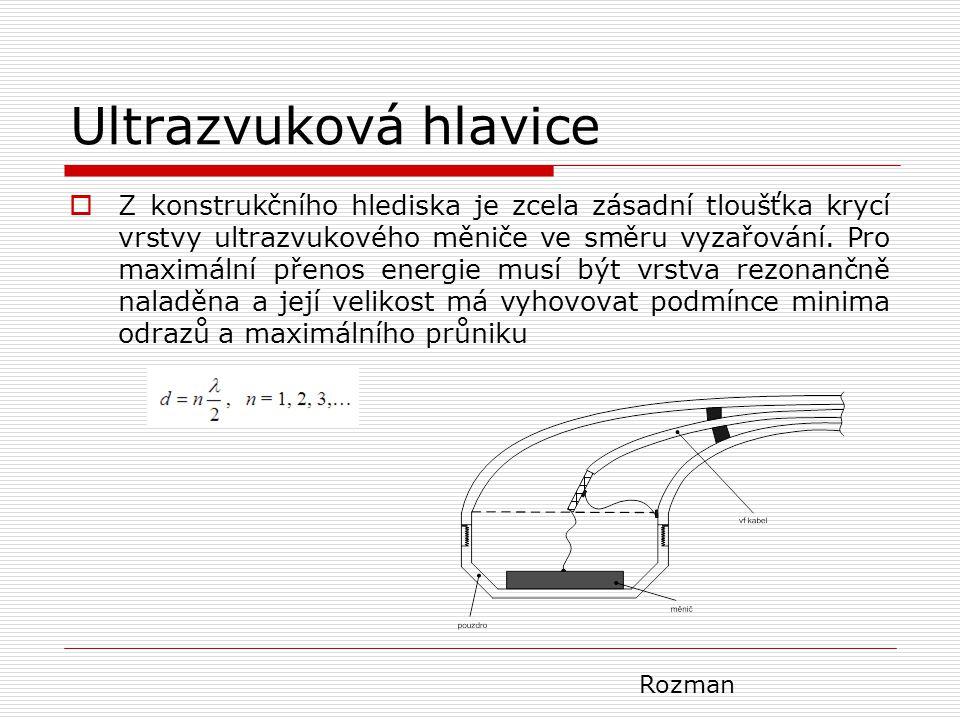 Ultrazvuková hlavice  Z konstrukčního hlediska je zcela zásadní tloušťka krycí vrstvy ultrazvukového měniče ve směru vyzařování. Pro maximální přenos