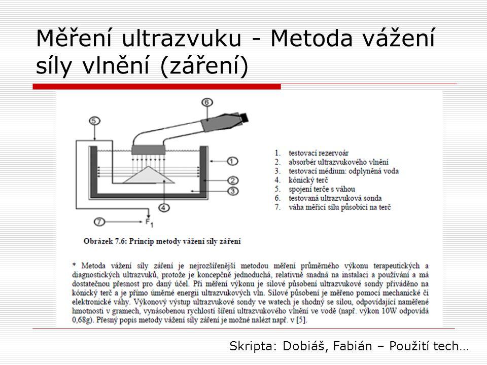 Měření ultrazvuku - Metoda vážení síly vlnění (záření) Skripta: Dobiáš, Fabián – Použití tech…