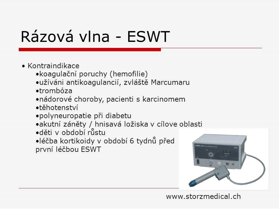 Rázová vlna - ESWT Kontraindikace koagulační poruchy (hemofilie) užíváni antikoagulancií, zvláště Marcumaru trombóza nádorové choroby, pacienti s karc
