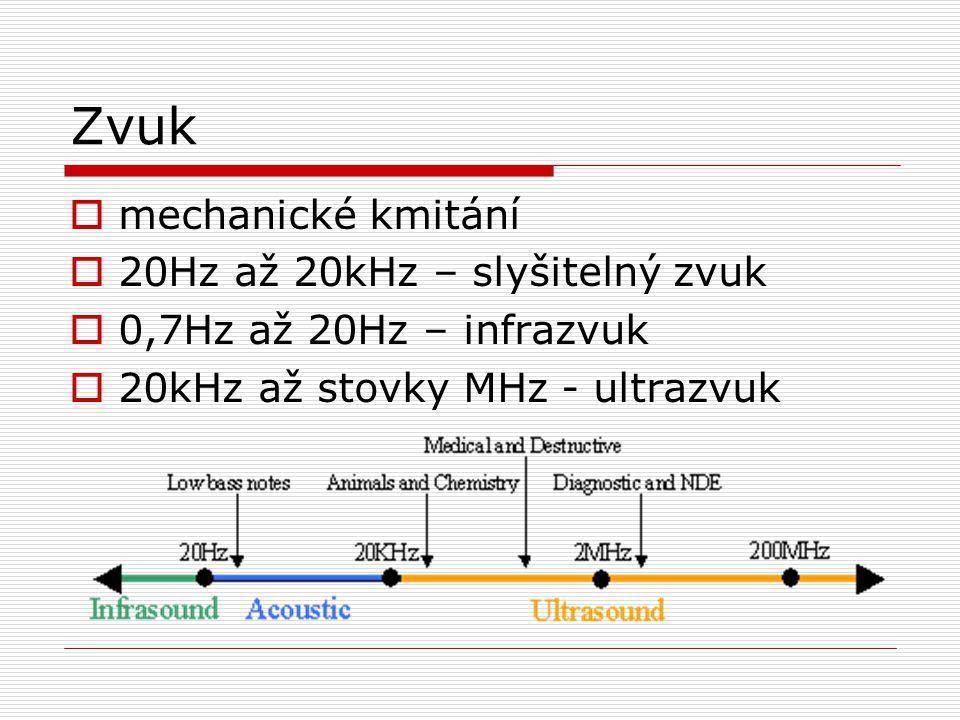 Zvuk  mechanické kmitání  20Hz až 20kHz – slyšitelný zvuk  0,7Hz až 20Hz – infrazvuk  20kHz až stovky MHz - ultrazvuk