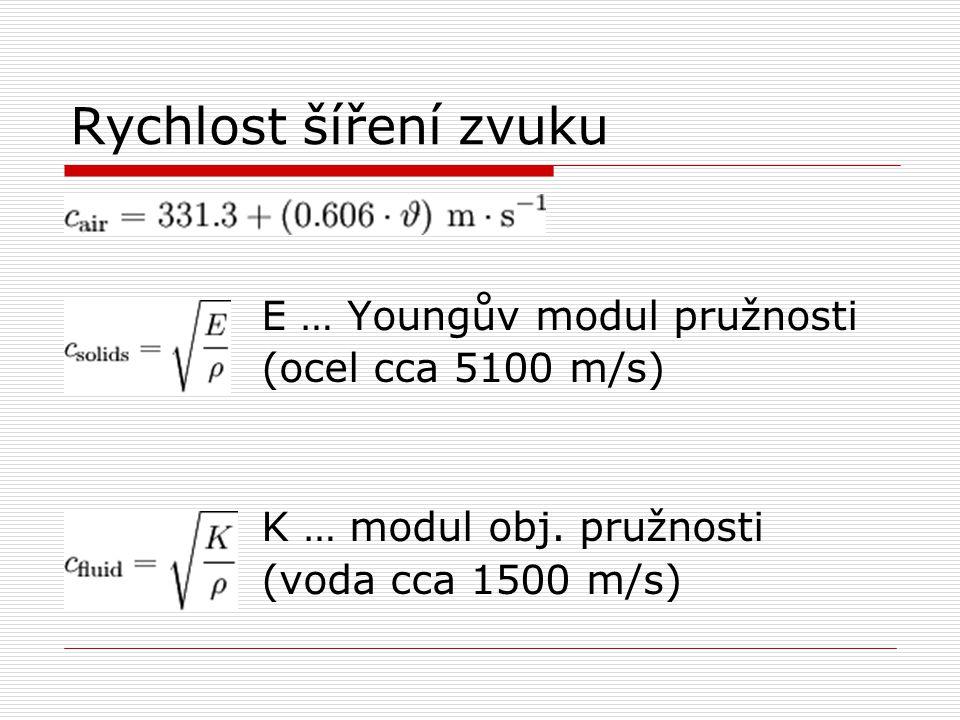 Rychlost šíření zvuku E … Youngův modul pružnosti (ocel cca 5100 m/s) K … modul obj. pružnosti (voda cca 1500 m/s)