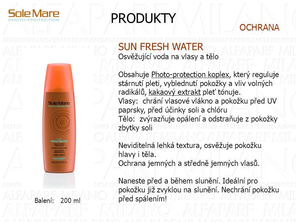 PRODUKTY SUN FRESH WATER Osvěžující voda na vlasy a tělo Obsahuje Photo-protection koplex, který reguluje stárnutí pleti, vyblednutí pokožky a vliv vo