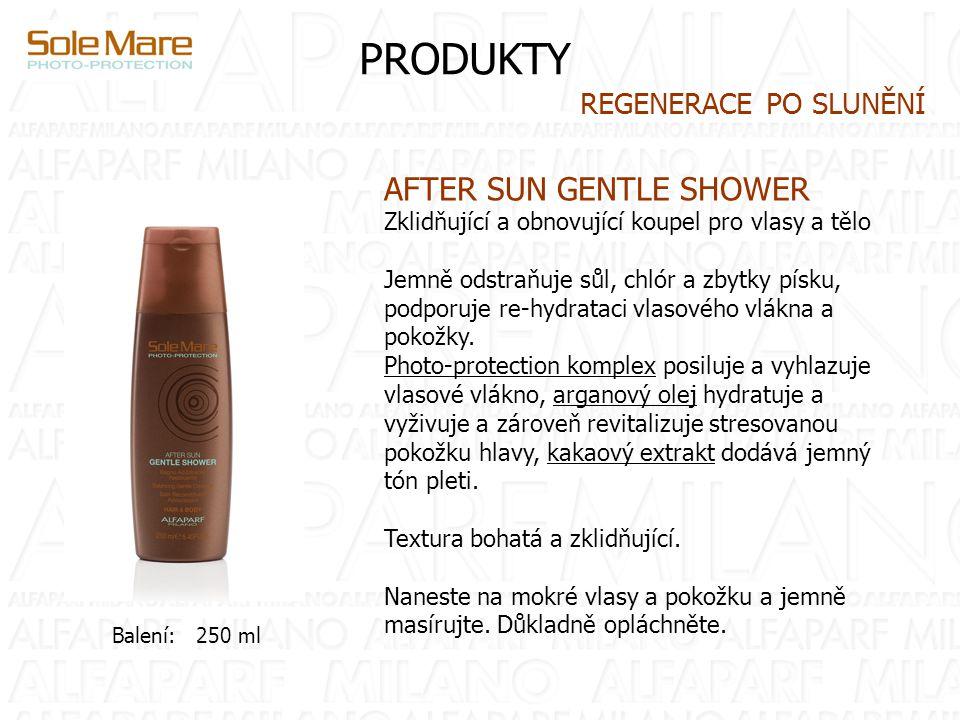 PRODUKTY AFTER SUN GENTLE SHOWER Zklidňující a obnovující koupel pro vlasy a tělo Jemně odstraňuje sůl, chlór a zbytky písku, podporuje re-hydrataci vlasového vlákna a pokožky.