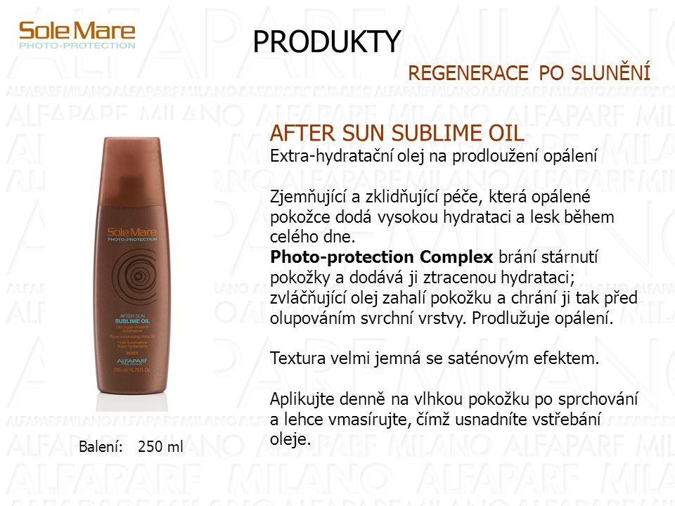 PRODUKTY AFTER SUN SUBLIME OIL Extra-hydratační olej na prodloužení opálení Zjemňující a zklidňující péče, která opálené pokožce dodá vysokou hydrataci a lesk během celého dne.