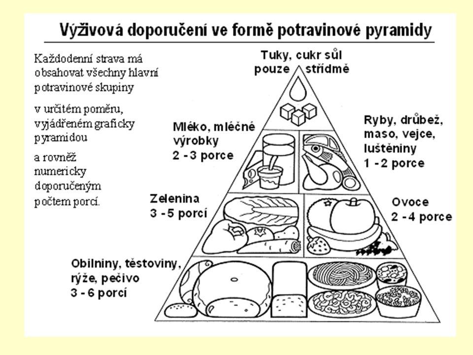 Metabolismus Výživa: –základní živiny – cukry, tuky, bílkoviny - voda - minerální látky, vitamíny –minimum energie zajišťuje metabolismus –největší energetickou hodnotu – tuky (38,9 KJ) –nejdostupnější – sacharidy (17,2 KJ) –nejhodnotnější - bílkoviny – (17,2KJ) - nenahraditelné pro růst –denní pitný režim – 2l tekutin - dehydratace – káva, alkohol