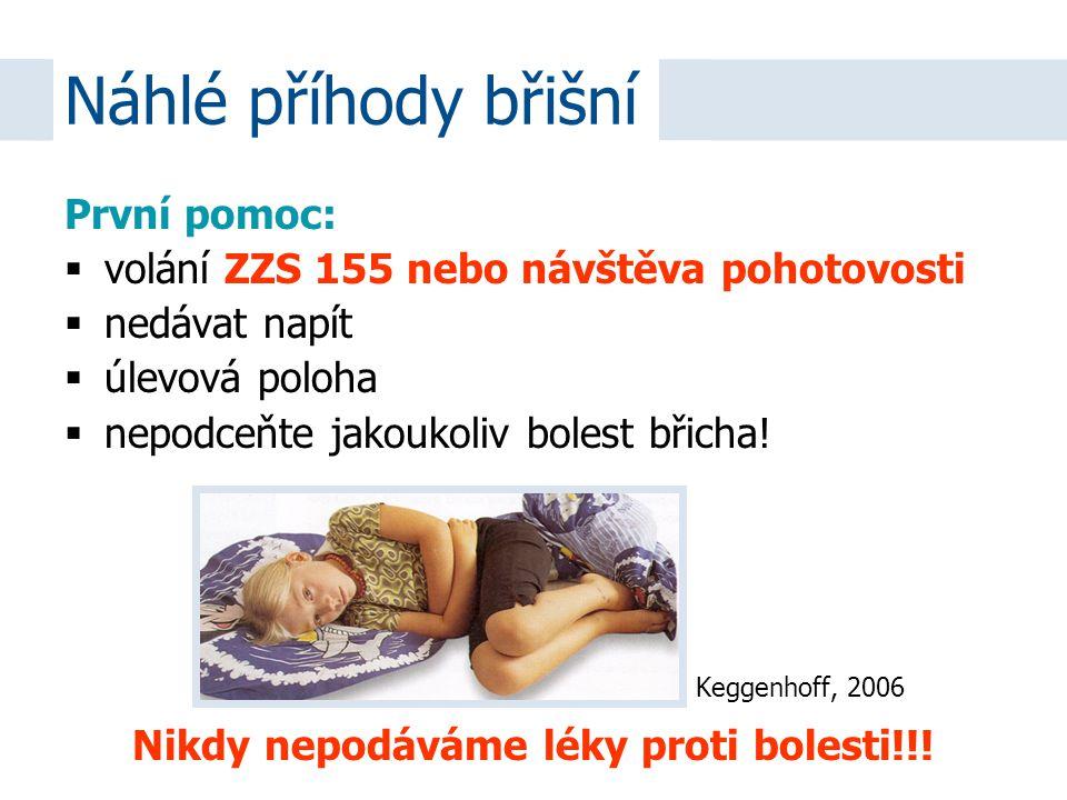 První pomoc:  volání ZZS 155 nebo návštěva pohotovosti  nedávat napít  úlevová poloha  nepodceňte jakoukoliv bolest břicha! Nikdy nepodáváme léky