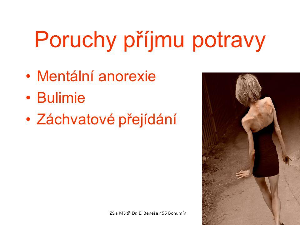 Poruchy příjmu potravy Mentální anorexie Bulimie Záchvatové přejídání ZŠ a MŠ tř.