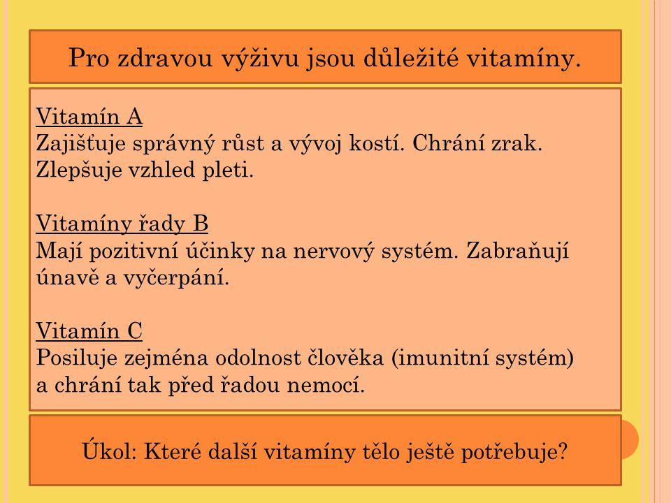 Pro zdravou výživu jsou důležité vitamíny. Vitamín A Zajišťuje správný růst a vývoj kostí. Chrání zrak. Zlepšuje vzhled pleti. Vitamíny řady B Mají po