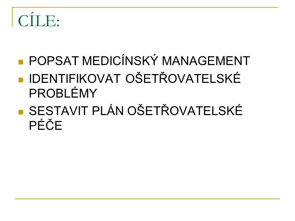 CÍLE: POPSAT MEDICÍNSKÝ MANAGEMENT IDENTIFIKOVAT OŠETŘOVATELSKÉ PROBLÉMY SESTAVIT PLÁN OŠETŘOVATELSKÉ PÉČE