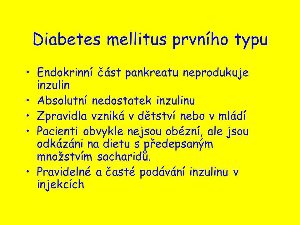 Diabetes mellitus prvního typu Endokrinní část pankreatu neprodukuje inzulin Absolutní nedostatek inzulinu Zpravidla vzniká v dětství nebo v mládí Pac
