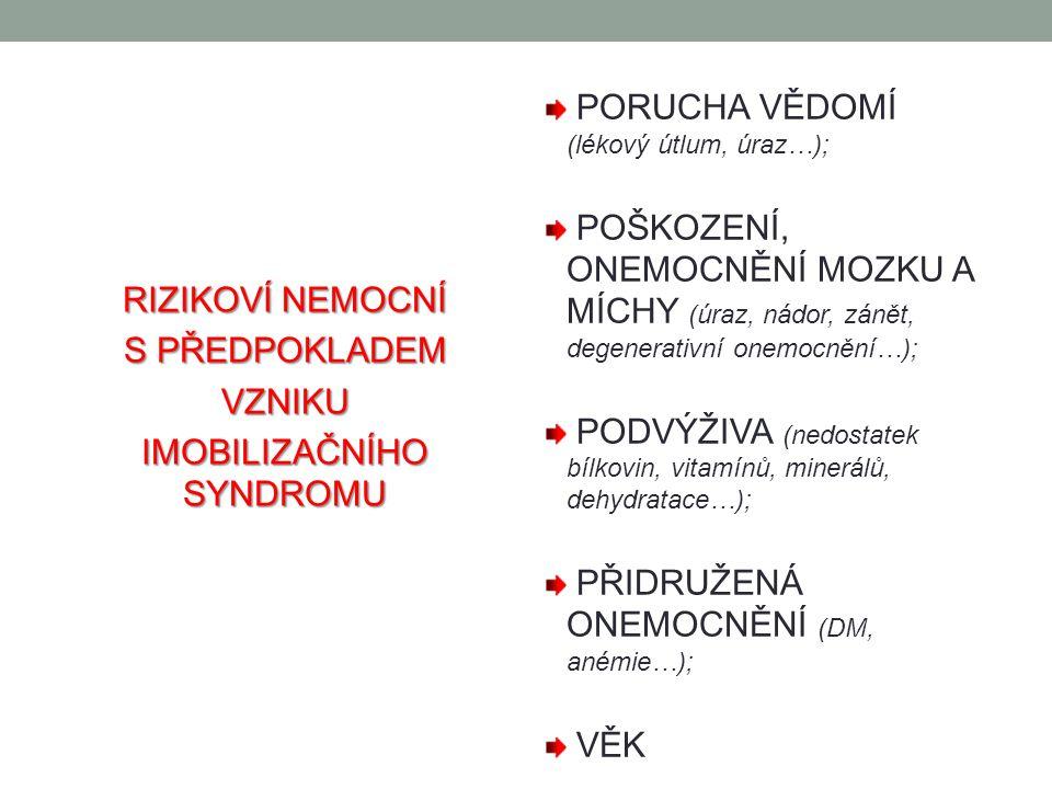 RIZIKOVÍ NEMOCNÍ S PŘEDPOKLADEM VZNIKU IMOBILIZAČNÍHO SYNDROMU PORUCHA VĚDOMÍ (lékový útlum, úraz…); POŠKOZENÍ, ONEMOCNĚNÍ MOZKU A MÍCHY (úraz, nádor, zánět, degenerativní onemocnění…); PODVÝŽIVA (nedostatek bílkovin, vitamínů, minerálů, dehydratace…); PŘIDRUŽENÁ ONEMOCNĚNÍ (DM, anémie…); VĚK