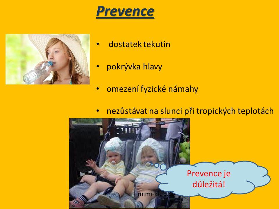 Prevence dostatek tekutin pokrývka hlavy omezení fyzické námahy nezůstávat na slunci při tropických teplotách mimi-klub.cz Prevence je důležitá!