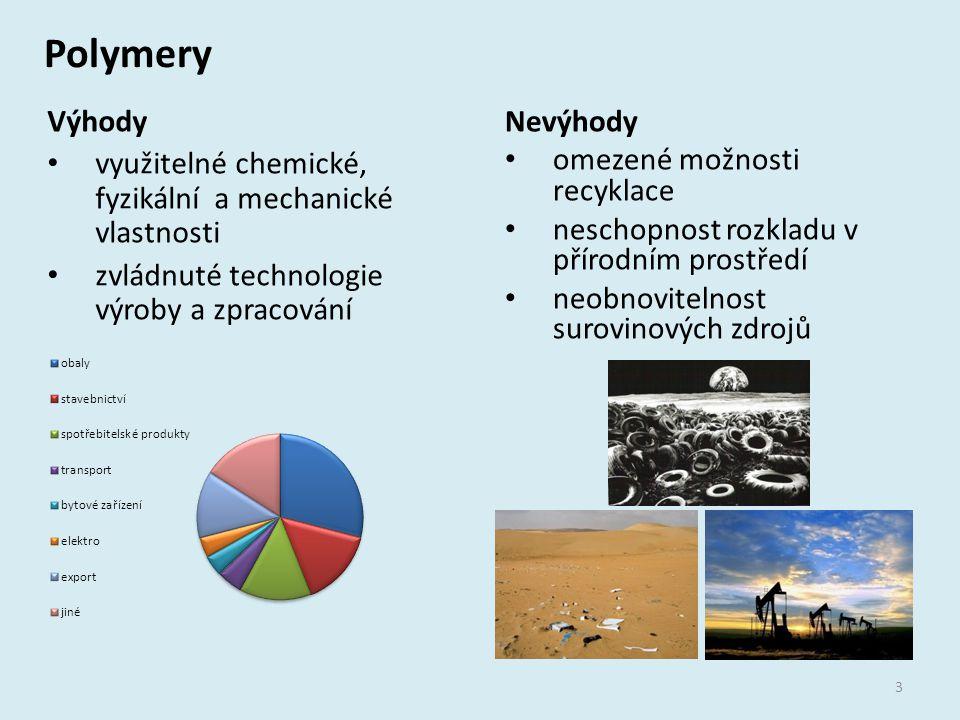 Polymery Výhody využitelné chemické, fyzikální a mechanické vlastnosti zvládnuté technologie výroby a zpracování Nevýhody omezené možnosti recyklace n