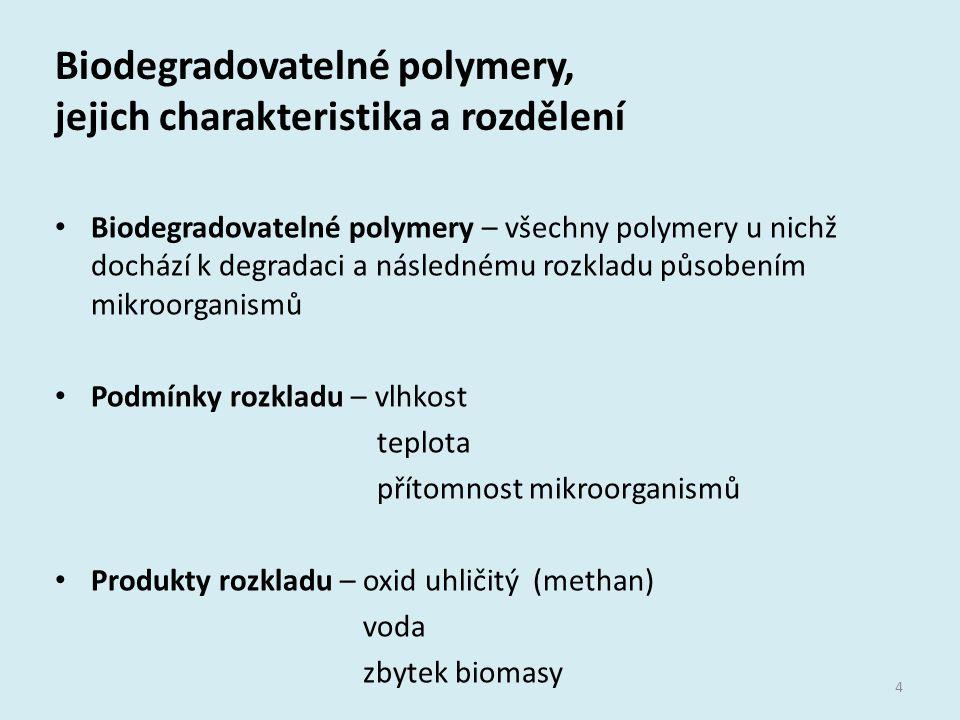 Biodegradovatelné polymery, jejich charakteristika a rozdělení 4 Biodegradovatelné polymery – všechny polymery u nichž dochází k degradaci a následném