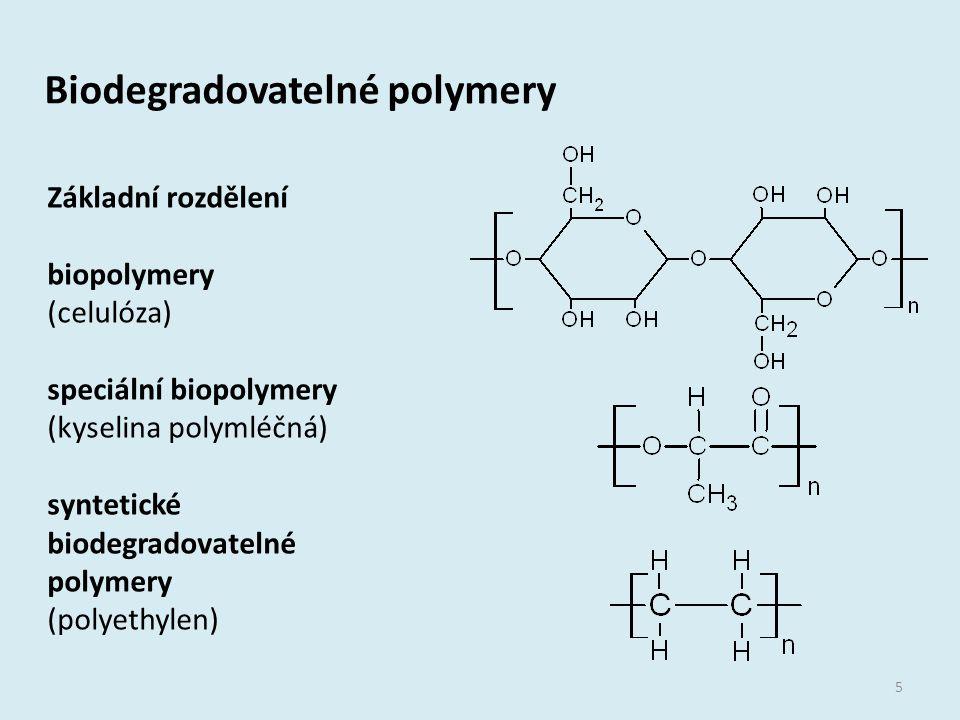 Biodegradovatelné polymery 5 Základní rozdělení biopolymery (celulóza) speciální biopolymery (kyselina polymléčná) syntetické biodegradovatelné polyme