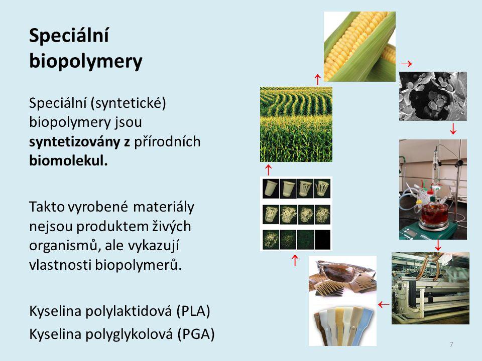 Speciální biopolymery Speciální (syntetické) biopolymery jsou syntetizovány z přírodních biomolekul. Takto vyrobené materiály nejsou produktem živých
