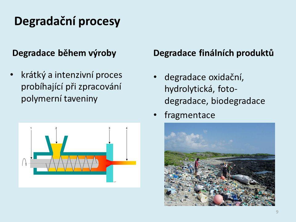 Degradační procesy Degradace během výroby krátký a intenzivní proces probíhající při zpracování polymerní taveniny Degradace finálních produktů degrad