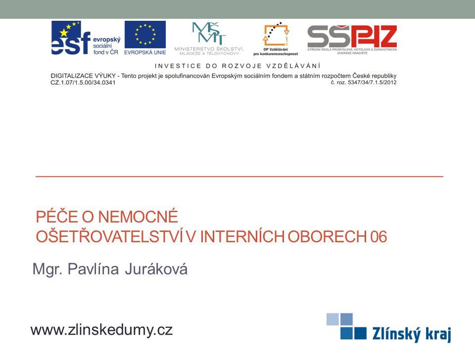 PÉČE O NEMOCNÉ OŠETŘOVATELSTVÍ V INTERNÍCH OBORECH 06 Mgr. Pavlína Juráková www.zlinskedumy.cz