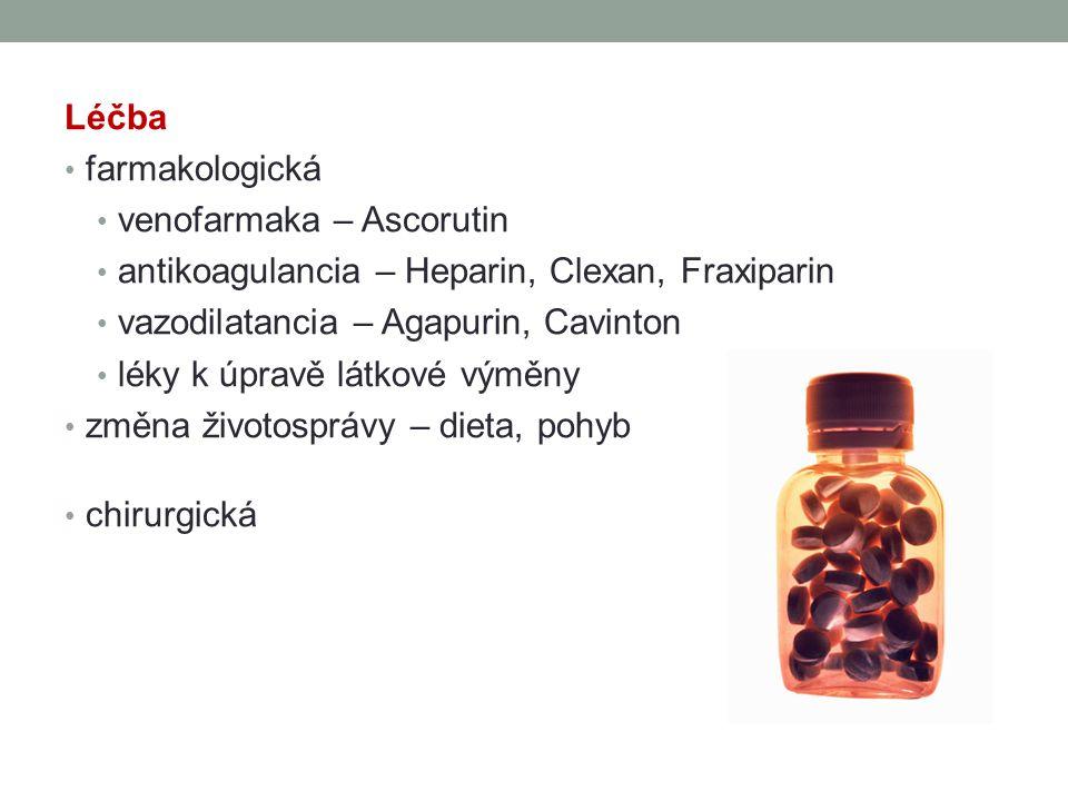 Léčba farmakologická venofarmaka – Ascorutin antikoagulancia – Heparin, Clexan, Fraxiparin vazodilatancia – Agapurin, Cavinton léky k úpravě látkové v