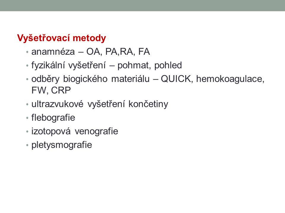 Vyšetřovací metody anamnéza – OA, PA,RA, FA fyzikální vyšetření – pohmat, pohled odběry biogického materiálu – QUICK, hemokoagulace, FW, CRP ultrazvuk