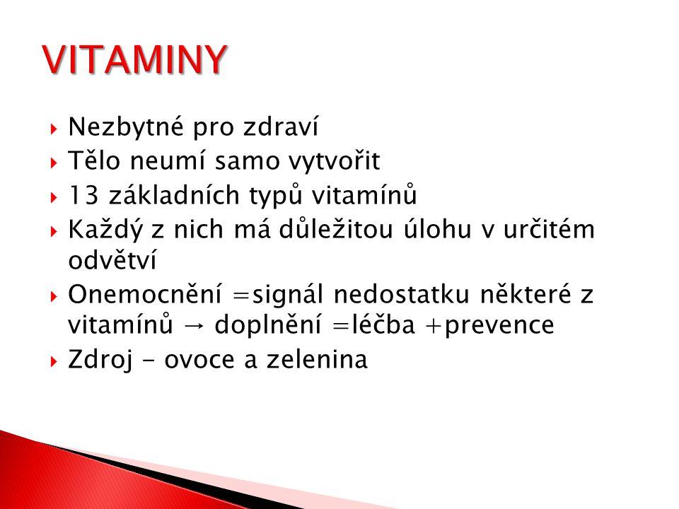  Nezbytné pro zdraví  Tělo neumí samo vytvořit  13 základních typů vitamínů  Každý z nich má důležitou úlohu v určitém odvětví  Onemocnění =signá