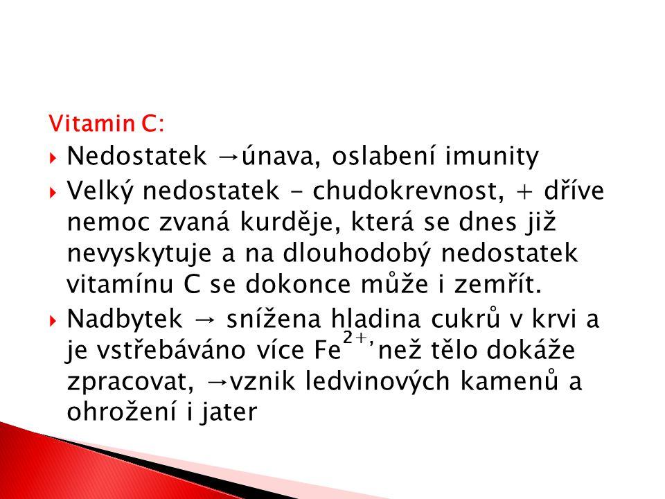 Vitamin C:  Nedostatek →únava, oslabení imunity  Velký nedostatek - chudokrevnost, + dříve nemoc zvaná kurděje, která se dnes již nevyskytuje a na d