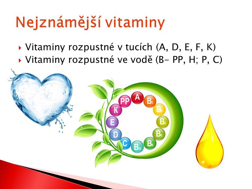  Vitaminy rozpustné v tucích (A, D, E, F, K)  Vitaminy rozpustné ve vodě (B- PP, H; P, C)