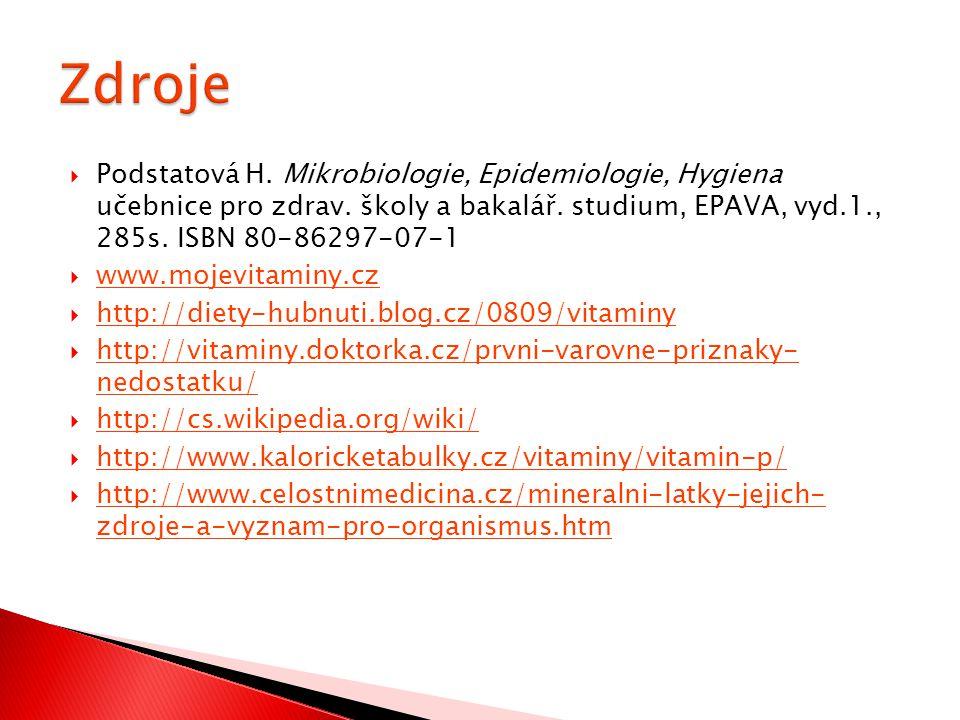  Podstatová H. Mikrobiologie, Epidemiologie, Hygiena učebnice pro zdrav. školy a bakalář. studium, EPAVA, vyd.1., 285s. ISBN 80-86297-07-1  www.moje