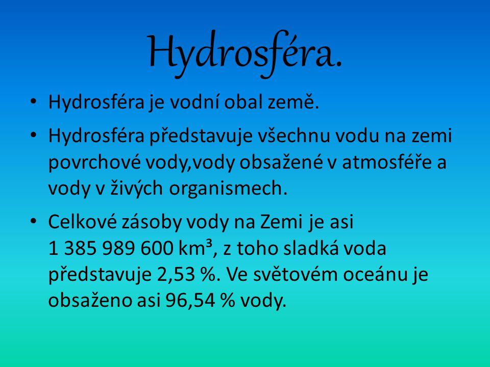 Hydrosféra. Hydrosféra je vodní obal země. Hydrosféra představuje všechnu vodu na zemi povrchové vody,vody obsažené v atmosféře a vody v živých organi