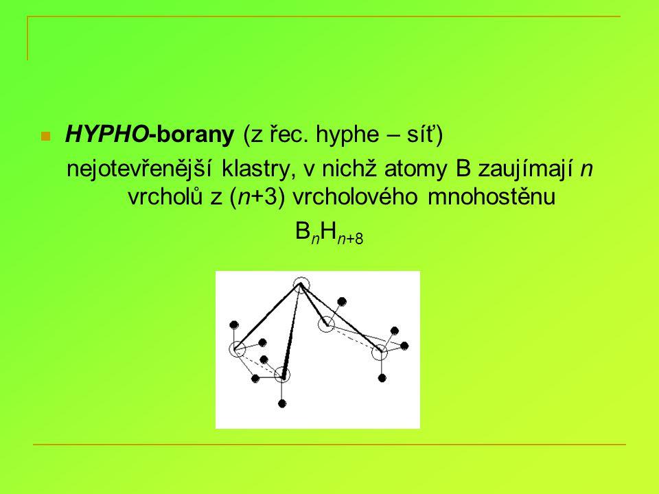nido-dekaboran B 10 H 14 nejlépe prostudovaný, potenciální palivo bezbarvá, těkavá, krystalická látka, nerozpustná ve vodě, rozpustná v organikách příprava pyrolýzou diboranu reakce: odtržení H +, adice e –, přemyky, odbourávání klastrů, vznik metaloboranů, zvětšování klastrů tvorba M 2 B 10 H 14
