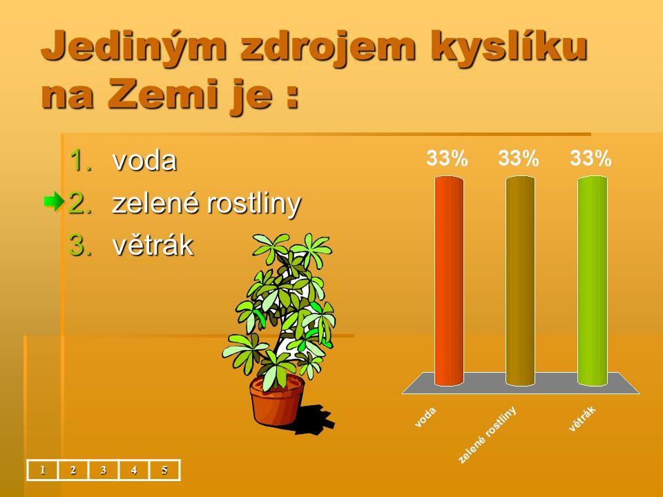 Jediným zdrojem kyslíku na Zemi je : 12345 1.voda 2.zelené rostliny 3.větrák