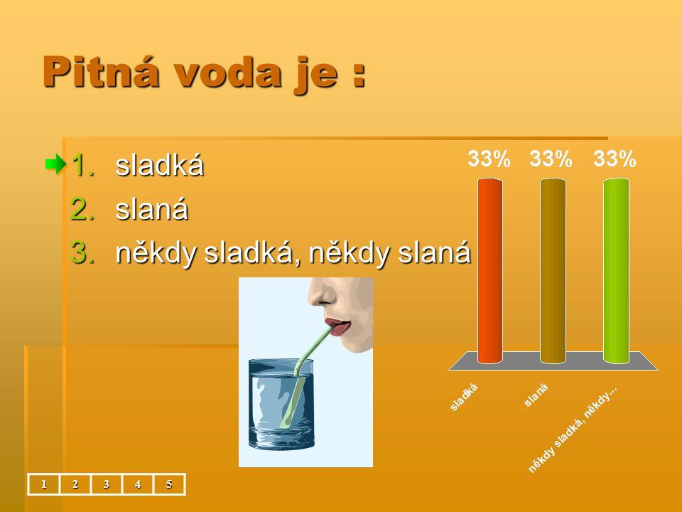 Pitná voda je : 12345 1.sladká 2.slaná 3.někdy sladká, někdy slaná