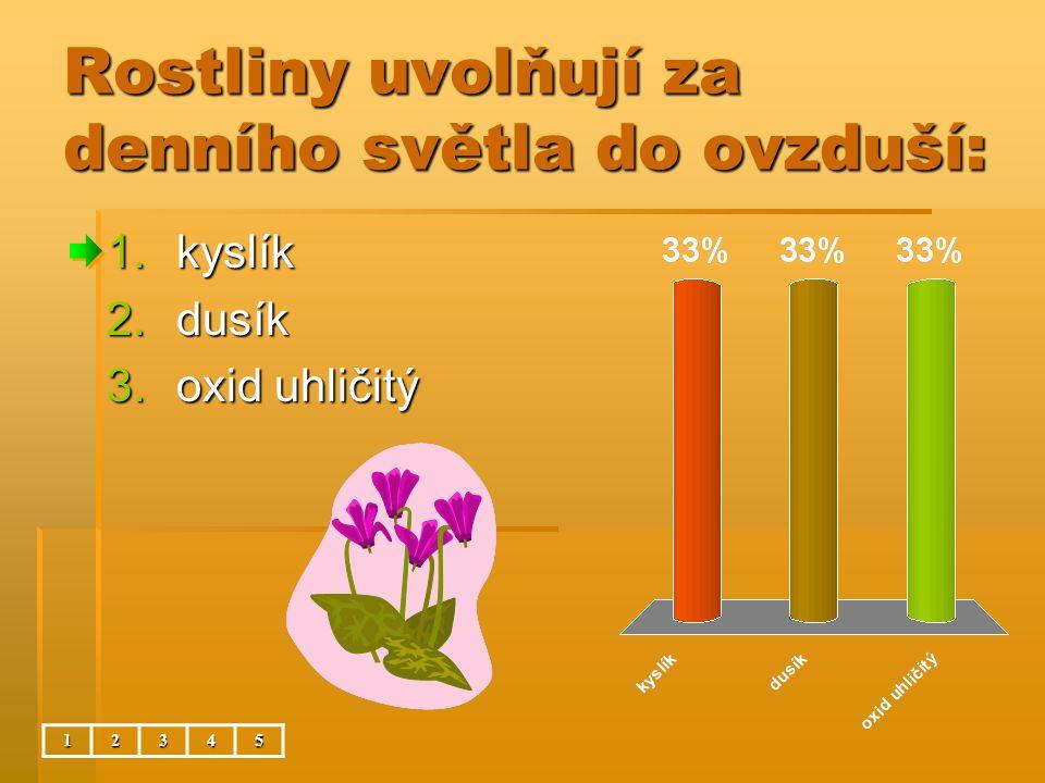 Rostliny uvolňují za denního světla do ovzduší: 12345 1.kyslík 2.dusík 3.oxid uhličitý