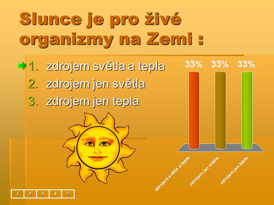 Slunce je pro živé organizmy na Zemi : 12345 1.zdrojem světla a tepla 2.zdrojem jen světla 3.zdrojem jen tepla