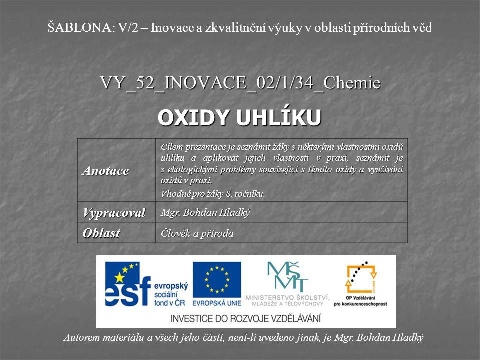 VY_52_INOVACE_02/1/34_Chemie OXIDY UHLÍKU Autorem materiálu a všech jeho částí, není-li uvedeno jinak, je Mgr. Bohdan Hladký ŠABLONA: V/2 – Inovace a