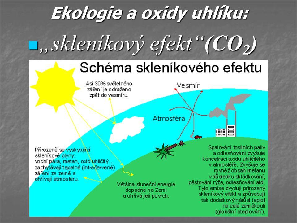 """Ekologie a oxidy uhlíku: """"skleníkový efekt""""(CO 2 ) """"skleníkový efekt""""(CO 2 )"""