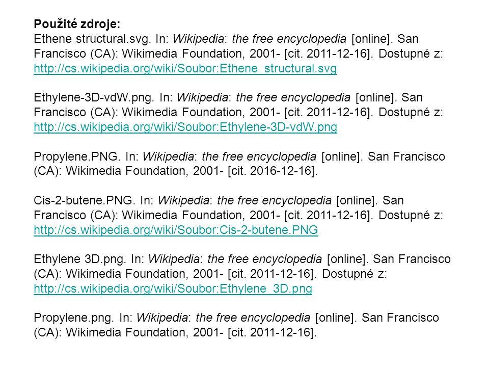 Použité zdroje: Ethene structural.svg. In: Wikipedia: the free encyclopedia [online]. San Francisco (CA): Wikimedia Foundation, 2001- [cit. 2011-12-16