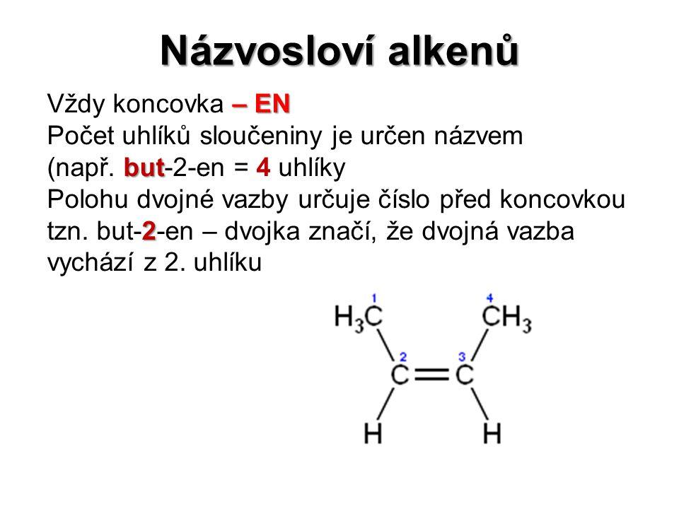 Názvosloví alkenů – EN Vždy koncovka – EN but Počet uhlíků sloučeniny je určen názvem (např. but-2-en = 4 uhlíky Polohu dvojné vazby určuje číslo před