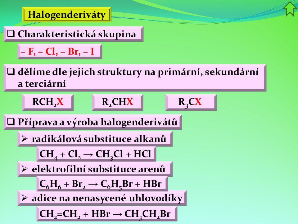  Charakteristická skupina Halogenderiváty – F, – Cl, – Br, – I  dělíme dle jejich struktury na primární, sekundární a terciární RCH 2 X  Příprava a výroba halogenderivátů  radikálová substituce alkanů  elektrofilní substituce arenů CH 2 =CH 2 + HBr → CH 3 CH 2 Br R 2 CHXR 3 CX  adice na nenasycené uhlovodíky CH 4 + Cl 2 → CH 3 Cl + HCl C 6 H 6 + Br 2 → C 6 H 5 Br + HBr