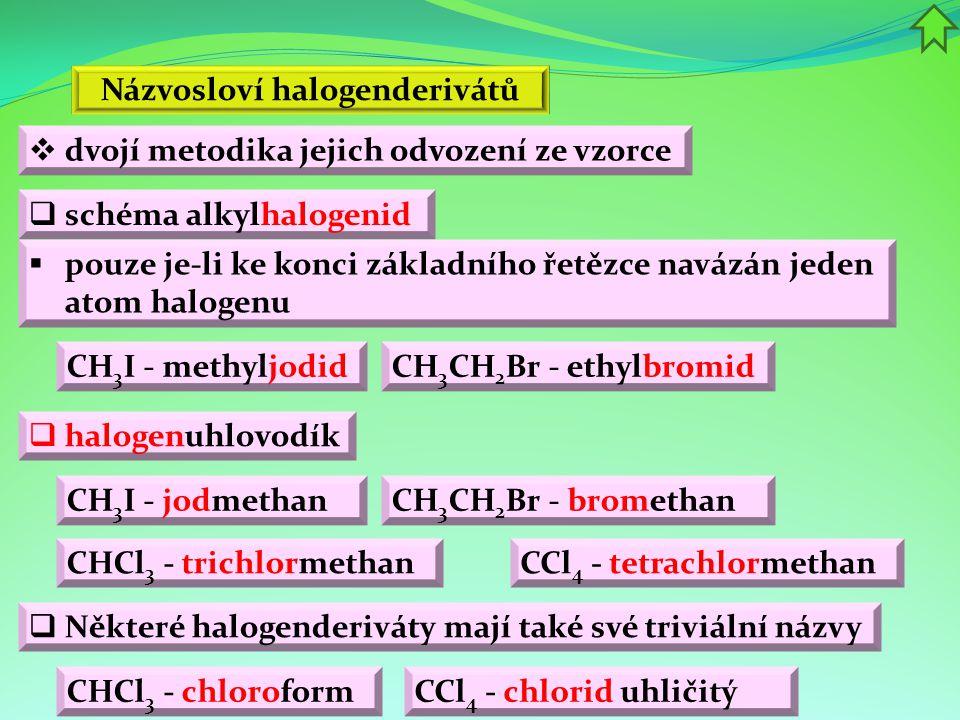 Názvosloví halogenderivátů  schéma alkylhalogenid  pouze je-li ke konci základního řetězce navázán jeden atom halogenu  Některé halogenderiváty mají také své triviální názvy  halogenuhlovodík CH 3 I - methyljodidCH 3 CH 2 Br - ethylbromid CH 3 I - jodmethan CH 3 CH 2 Br - bromethan CHCl 3 - chloroform CCl 4 - chlorid uhličitý CHCl 3 - trichlormethan CCl 4 - tetrachlormethan  dvojí metodika jejich odvození ze vzorce