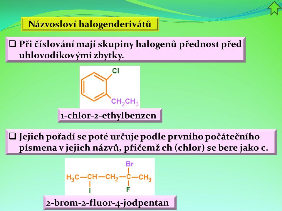 Názvosloví halogenderivátů 2-brom-2-fluor-4-jodpentan  Při číslování mají skupiny halogenů přednost před uhlovodíkovými zbytky.