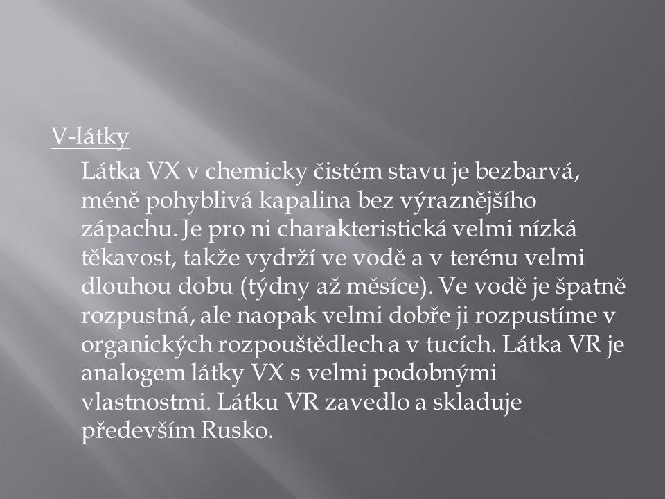 V-látky Látka VX v chemicky čistém stavu je bezbarvá, méně pohyblivá kapalina bez výraznějšího zápachu.