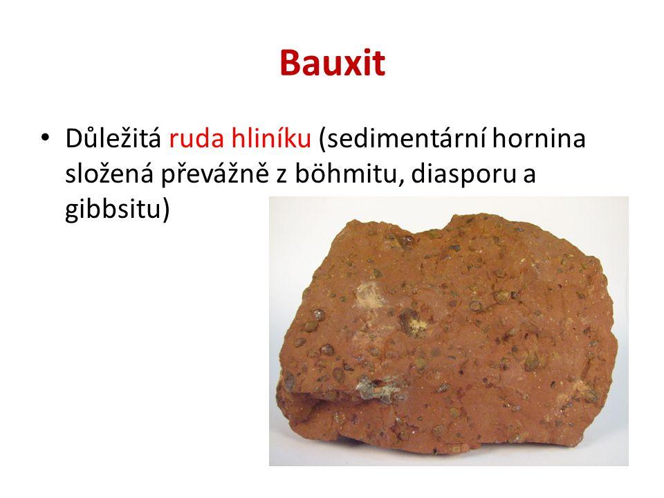 Bauxit Důležitá ruda hliníku (sedimentární hornina složená převážně z böhmitu, diasporu a gibbsitu)
