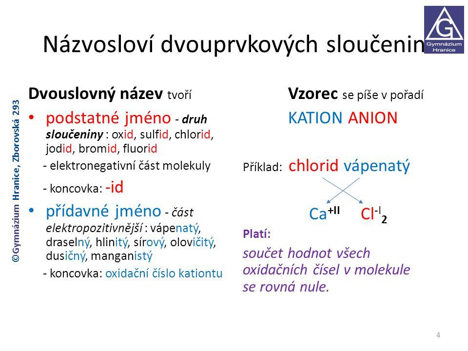 Rozdělení sloučenin ① OXIDY -dvouprvkové sloučeniny kyslíku a dalšího prvku -oxidační číslo kyslíku: O -II Kyslík : prvek VI.A skupiny, 6 valenčních elektronů, snaha získat 8 valenčních elektronů(vzácný plyn) O 0 + 2 e - → O -II oxid křemičitý: SiO 2 pevná látka chemicky stálá (těžko tavitelná) využití: stavebnictví (říční písek do betonu a malty) sklářství (křemenný písek) 5 ©Gymnázium Hranice, Zborovská 293