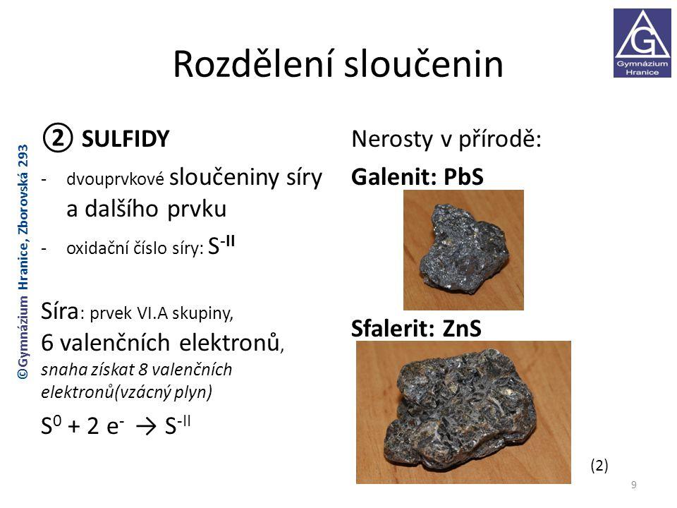 Reakce zinku se sírou rovnice reakce: Zn + S → ZnS směs práškové síry a zinku hoření produkt ZnS 10 ©Gymnázium Hranice, Zborovská 293 (3)