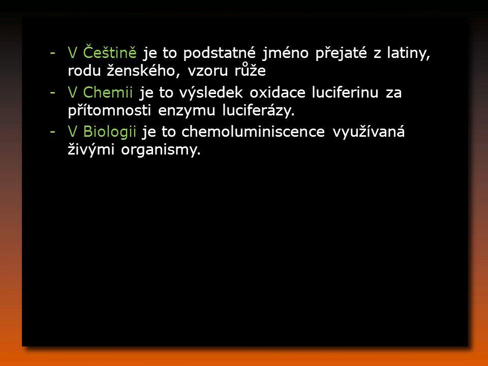 -V Češtině je to podstatné jméno přejaté z latiny, rodu ženského, vzoru růže -V Chemii je to výsledek oxidace luciferinu za přítomnosti enzymu luciferázy.