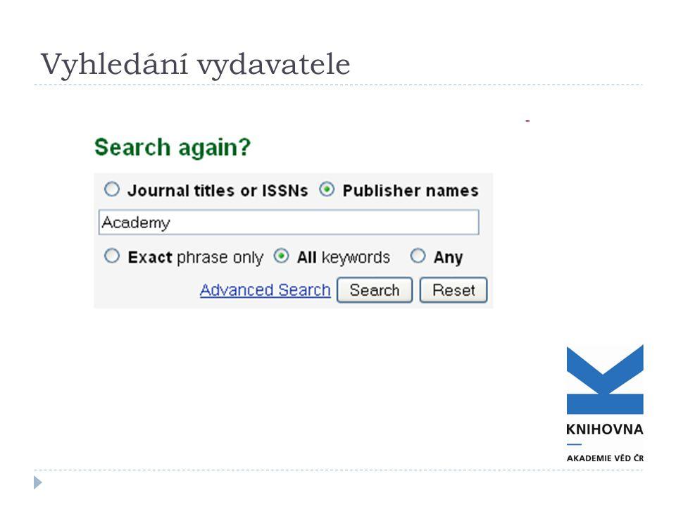 Vyhledání vydavatele